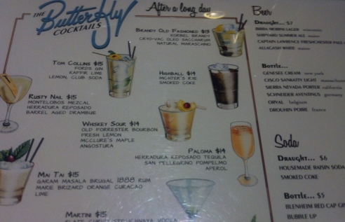 The drink menu