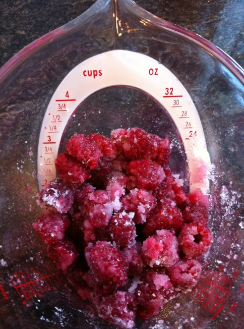 Raspberries ready for macerating.