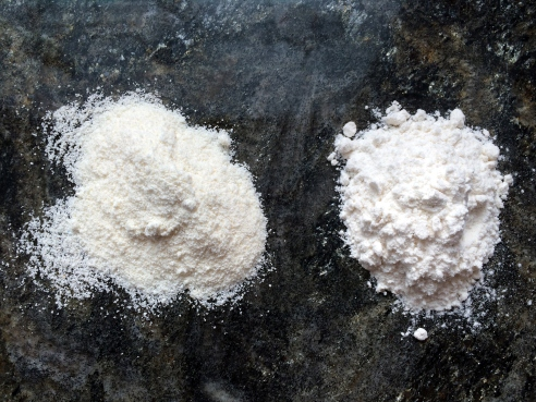 Coconut flour (on left) v. regular flour